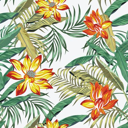 Illustration pour Floral seamless illustration, realistic vector pattern green palm, fern leaves and sunny orange lily, lotus flowers on the white background - image libre de droit