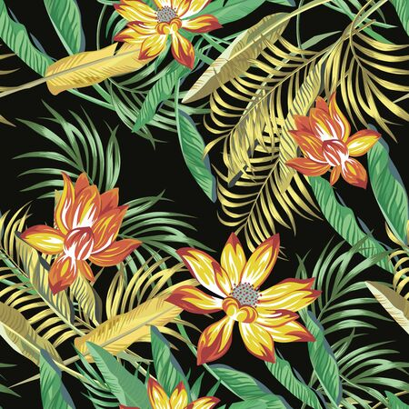 Illustration for Beautiful fiery color exotic tropical flowers lotus, lily and green, golden color palm, banana, fern leaves seamless vector pattern on black background. Beach summer trendy illustration. - Royalty Free Image