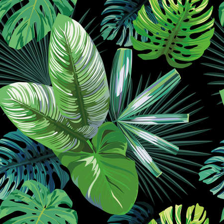 Illustration pour Seamless exotic pattern with tropical palm, banana, monstera leaves on a black background green vector style. Hawaiian tropical natural floral wallpaper - image libre de droit