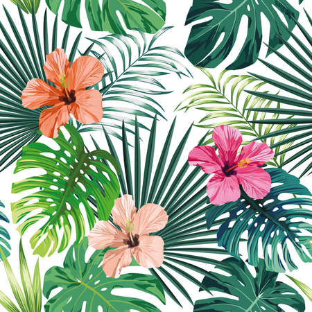 Illustration pour Seamless exotic pattern with tropical palm, banana, monstera leaves and rose, beige and pink hibiscus flower on a white background green vector style. Hawaiian tropical natural floral wallpaper - image libre de droit