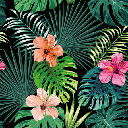 Illustration pour Seamless exotic pattern with tropical palm, banana, monstera leaves and rose, beige and pink hibiscus flower on a black background green vector style. Hawaiian tropical natural floral wallpaper - image libre de droit
