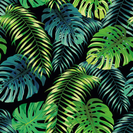 Illustration pour Botanical green seamless pattern leaves Fern and Monstera on black background. Exotic wallpaper design - image libre de droit