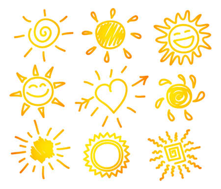 Vector illustration of Hand-draw sun setのイラスト素材