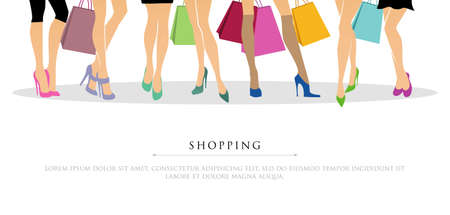 illustration of Shopping girls