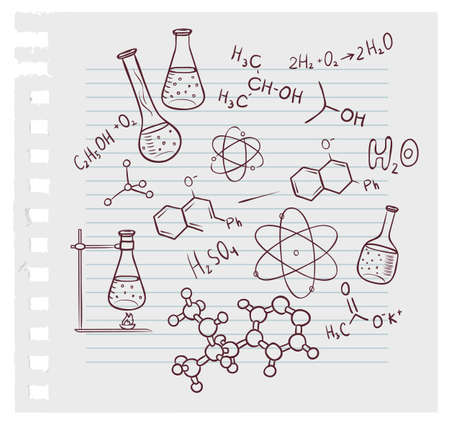 illustration of Hand draw chemistry on background