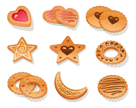illustration of Set of different cookies