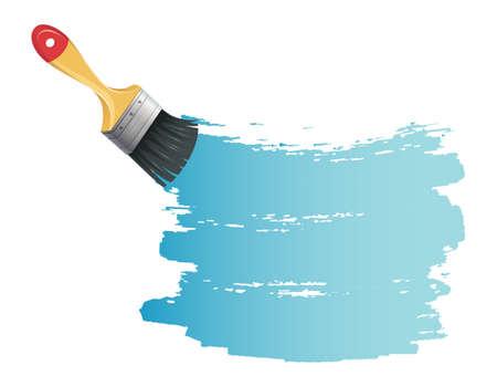 Illustration for Vector illustration of Paint brush with blue splash - Royalty Free Image