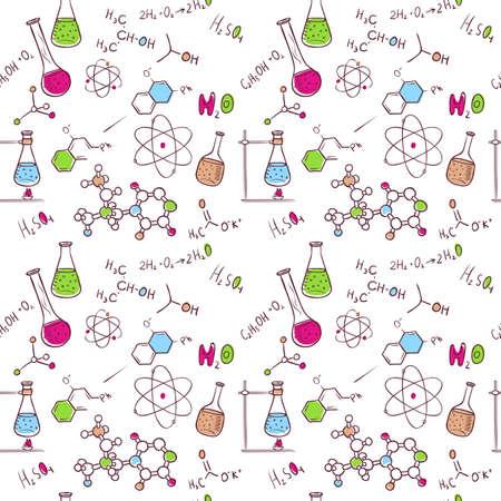 Vector illustration of Hand draw chemistry pattern
