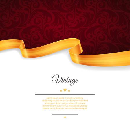 Illustration pour Vector illustration of Vintage template with gold ribbon - image libre de droit