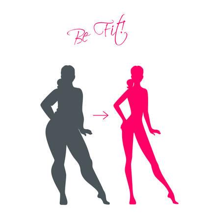 Vector illustration of Slim and fat girls