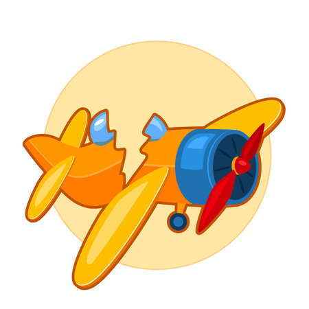 Illustration pour Vector illustration of broken toy airplane on yellow background - image libre de droit