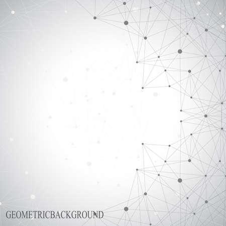 Illustration pour Grey graphic background dots with connections for your design. Vector illustration. - image libre de droit