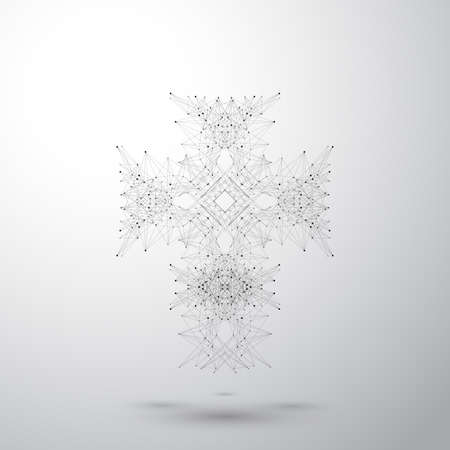 Religious cross on the gray background. Connected lines with dots. Vector illustration.