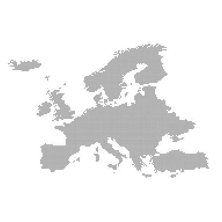 Detailed map of Europe in the dot. Vector illustration.