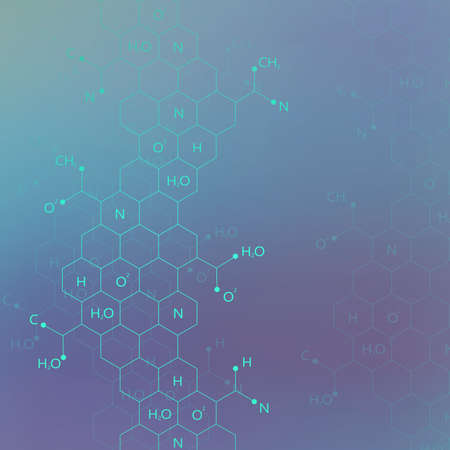 Dna molecule structure on blue background for your design and your text. Vector Illustration.