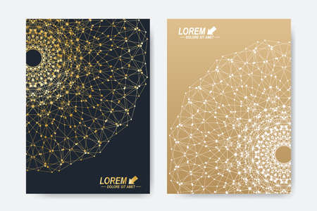 Illustration for Modern vector template for brochure, Leaflet, flyer, cover, magazine or annual report. A4 size. Business, science, medicine and technology design book layout. Abstract presentation with golden mandala. - Royalty Free Image