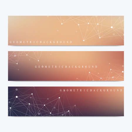 Modern set of vector banners. Geometric abstract presentation. Molecule DNA and communication background for medicine, science, technology, chemistry. Cybernetic dots. Lines plexus. Card surface
