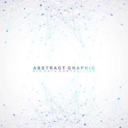 Geometric graphic background communication. Big data complex with compounds. Perspective backdrop. Minimal array. Digital data visualization. Scientific cybernetic vector illustration.