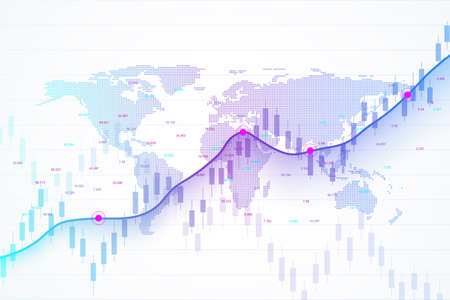 Ilustración de Stock market and exchange. Candle stick graph chart of stock market investment trading. Stock market data. Bullish point, Trend of graph. Vector illustration. - Imagen libre de derechos