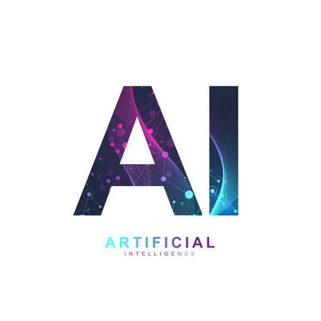 Foto per Artificial Intelligence Logo. Artificial Intelligence and Machine Learning Concept. Vector symbol AI. Neural networks and another modern technologies concepts. Technology sci-fi concept - Immagine Royalty Free