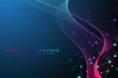 Illustration pour Geometric abstract background with connected lines and dots. Wave flow. Molecule and communication background. Graphic background for your design. Vector illustration. - image libre de droit