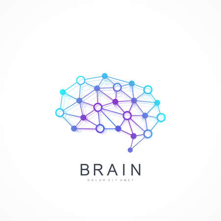 Illustration pour Colorful Vector Template Brain Logo. Artificial Intelligence Logo. Artificial Intelligence and Machine Learning Concept. Vector symbol AI. Creative Idea Concept Design Brain Logotype Icon. - image libre de droit