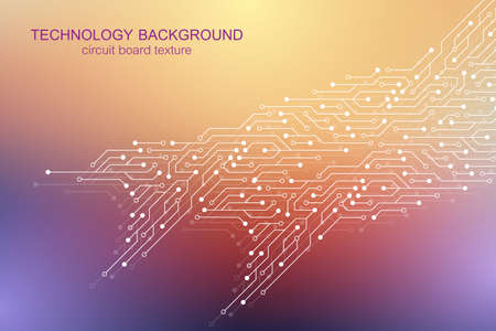 Illustration pour Computer motherboard vector background with circuit board electronic elements. Electronic texture for computer technology, engineering concept. Motherboard integrated computing illustration. - image libre de droit