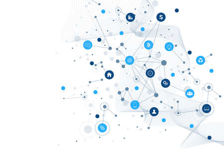 Illustration pour Internet of things IoT and networking concept for your design presentation. Futuristic network connection background for world trade. Internet of things business industry 4.0. Vector illustration - image libre de droit