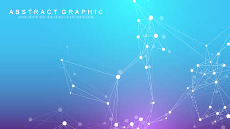 Illustration pour Geometric abstract background with connected line and dots. Network and connection background for your presentation. Graphic polygonal background. Wave flow. Scientific vector illustration. - image libre de droit