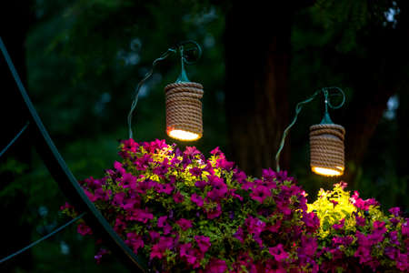 Photo pour two decorative lanterns for lighting hanging flowerpots with petunia flowers in the evening garden of the backyard, a closeup of the night scene of landscaping nobody. - image libre de droit