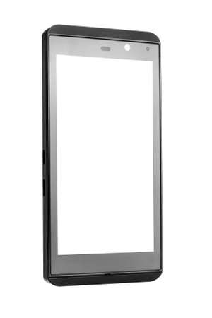 Photo pour touch cell phone of black color with the white empty blank screen isolated on a white background with copy space, nobody. - image libre de droit
