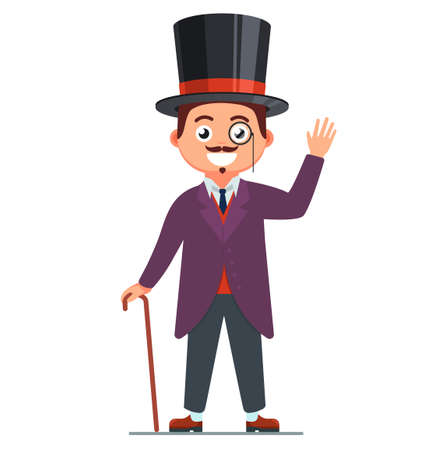 Gentleman in a suit and smile. 19th century man. top hut on the head. retro character illustration. vector image