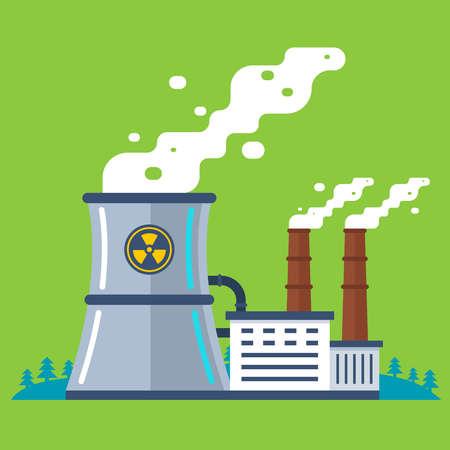 Illustration pour radioactive plant with a pipe. cheap energy production. flat vector illustration. - image libre de droit