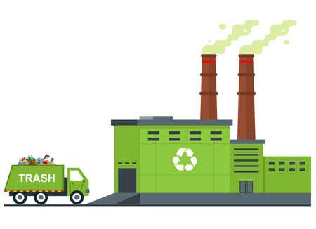 Ilustración de garbage processing plant. garbage truck rides with waste. flat vector illustration. - Imagen libre de derechos