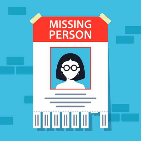 Illustration pour missing person announcement. flyer hanging on a brick wall. flat vector illustration. - image libre de droit