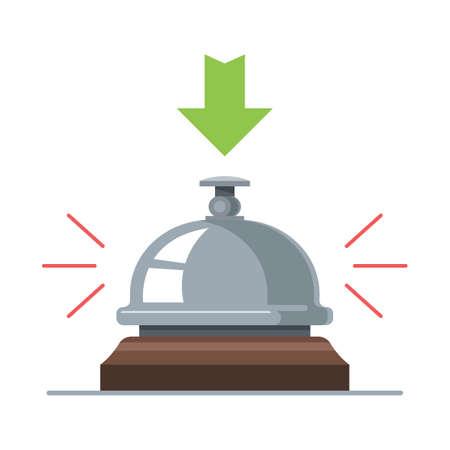 Illustration pour Hotel desk bell. sound from pressing a button. Flat vector illustration. - image libre de droit