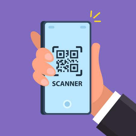 Illustration pour the scanner on the phone scans the square. flat vector illustration - image libre de droit