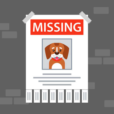 Illustration pour paper ad on the wall about the missing dog. flat vector illustration. - image libre de droit