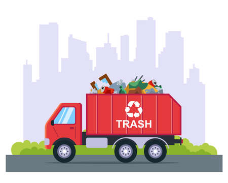 Illustration for garbage removal by truck from the city. flat vector illustration. - Royalty Free Image