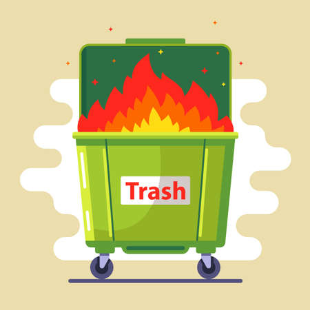 Illustration pour the trash can is burning. violation of the rules. harm to nature and people. bad ecology. flat vector illustration - image libre de droit