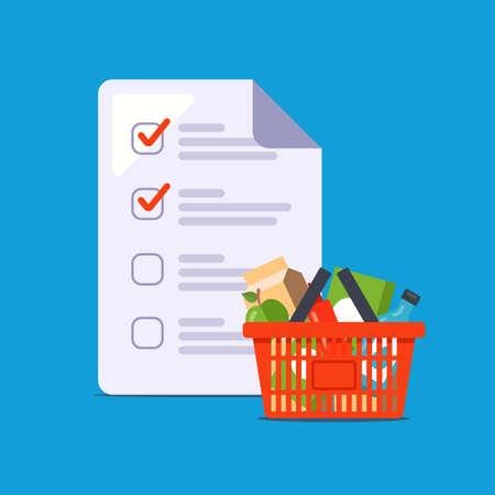 Illustration pour home shopping list. assemble a grocery basket for the home. flat vector illustration. - image libre de droit