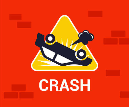 Illustration pour road sign of an inverted car. traffic accident on the road. flat vector illustration. - image libre de droit