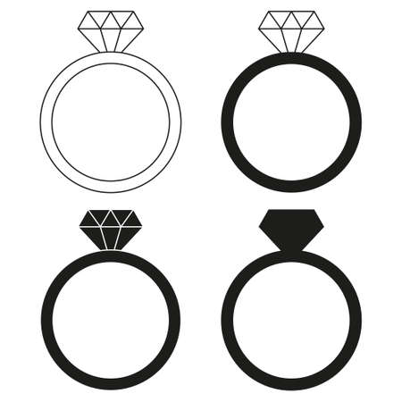 Illustration pour Black and white diamond ring silhouette set. Wedding proposal symbol. St Valentine day themed vector illustration for icon, stamp, label, badge, certificate, brochure, gift card, poster or banner decoration - image libre de droit