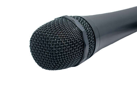 The image of wired cordless Microphone Mic DJ singing Isolated on white