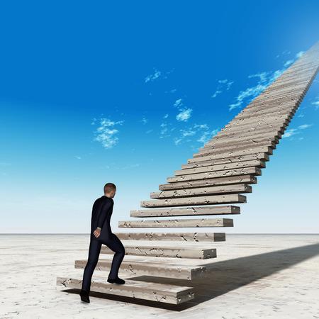 Photo pour Concept conceptual 3D business man walking or climbing stair on sky background with clouds - image libre de droit