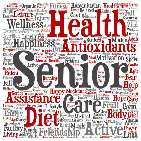 Photo pour Concept conceptual old senior health, care or elderly people abstract word cloud isolated on background metaphor to healthcare, illness, medicine, assistance, help, treatment, active or happy - image libre de droit