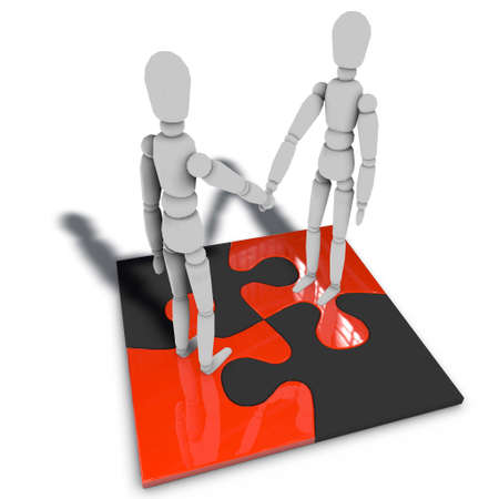 two figures are standing on a puzzle and shaking hands