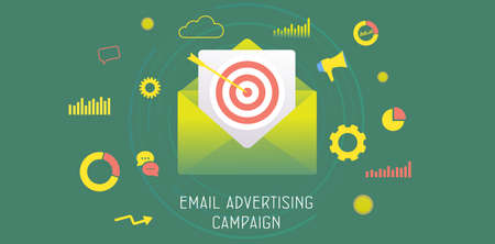 Illustration for Email Advertising Campaign concept. Digital Marketing Business Strategy, Inbound and Outbound Advertisement. Reaching target audience with e-mail letter. Drip e-marketing header vector banner template - Royalty Free Image