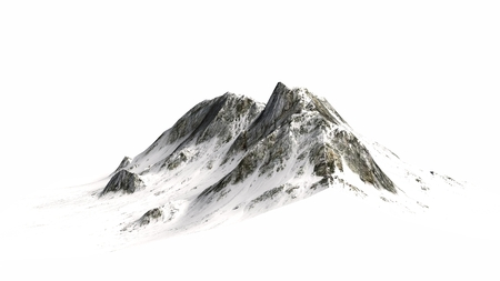 Photo for Snowy Mountains Mountain peak separated on white background - Royalty Free Image