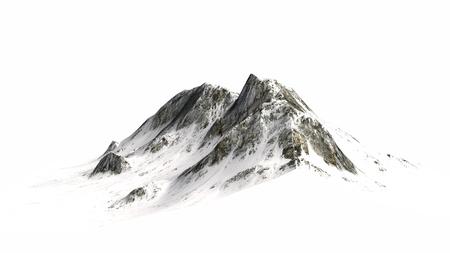 Snowy Mountains Mountain peak separated on white background